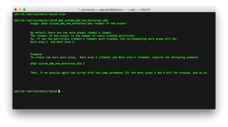 Screenshot showing add work areas script